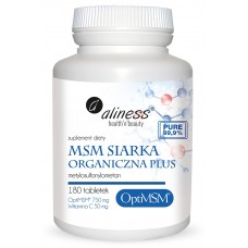 MSM Siarka Organiczna PLUS x 180 tabletek - OptiMSM - to najczystsza i najbezpieczniejsza forma siarki organicznej  pochodzenia amerykańskiego