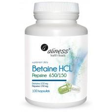Betaine HCL, Pepsyna 650/150 mg x 100  kaps - przyczynia się do prawidłowego metabolizmu homocysteiny